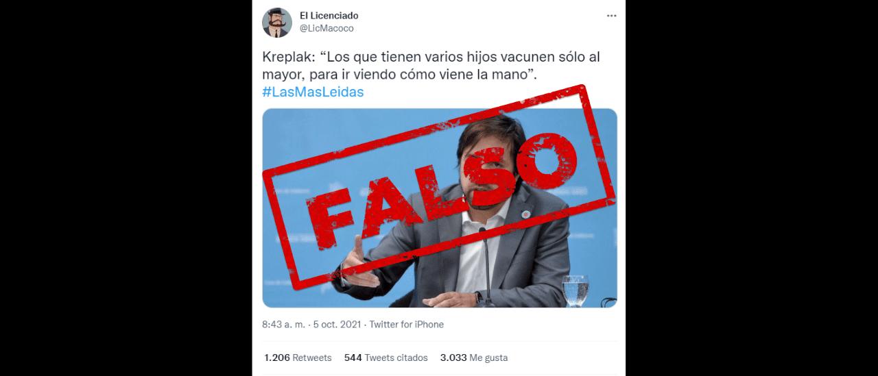 Es falsa la frase atribuida al ministro de Salud bonaerense, Nicolás Kreplak, sobre la campaña de vacunación a niños